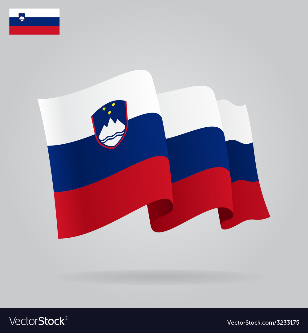 Flat and waving slovenian flag vector | Price: 1 Credit (USD $1)