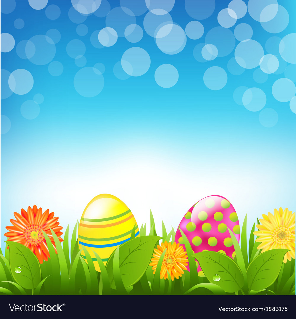 Green border with grass and color eggs and bokeh vector | Price: 1 Credit (USD $1)