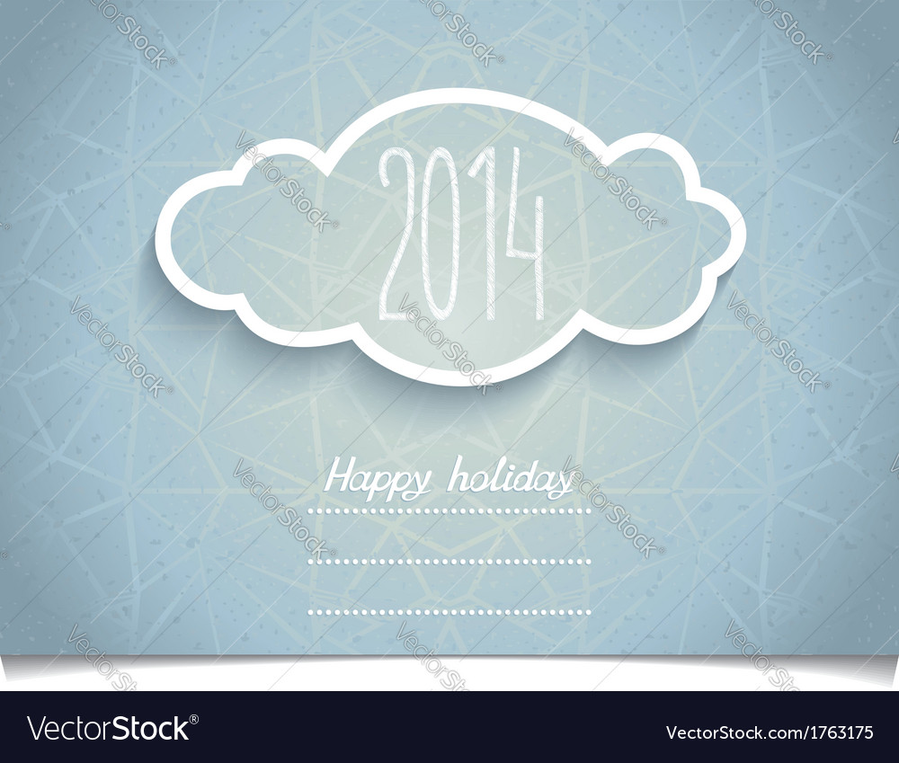 Holiday card with 3d cloud on melange texture vector | Price: 1 Credit (USD $1)