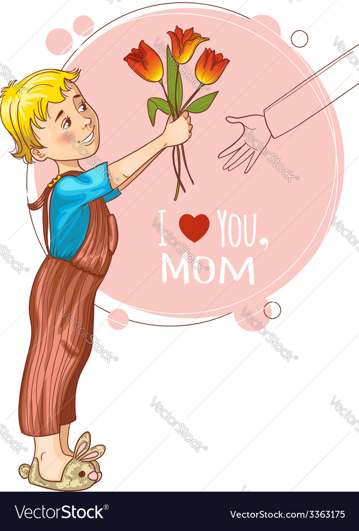 Little boy gives bouquet of tulips at mothers day vector | Price: 1 Credit (USD $1)