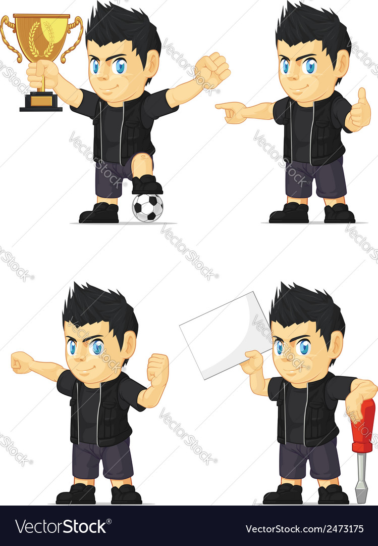 Spiky rocker boy customizable mascot 17 vector | Price: 1 Credit (USD $1)
