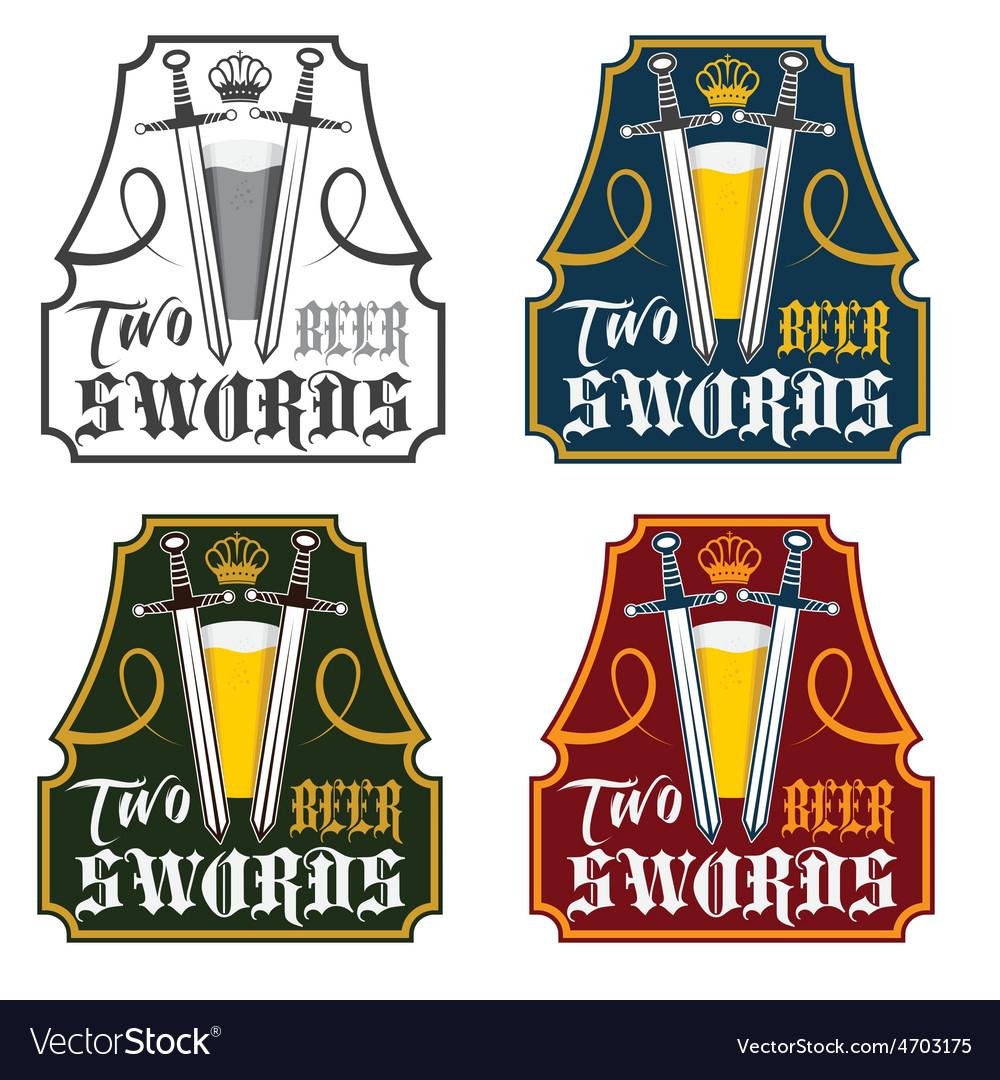 Two swords beer vintage labels set vector | Price: 1 Credit (USD $1)