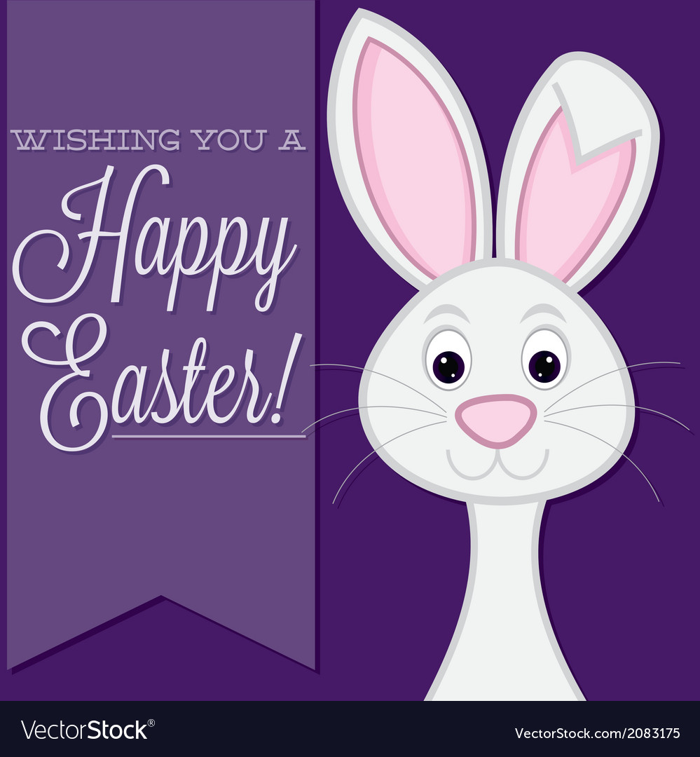 Wishing you a happy easter retro style bunny card vector | Price: 1 Credit (USD $1)