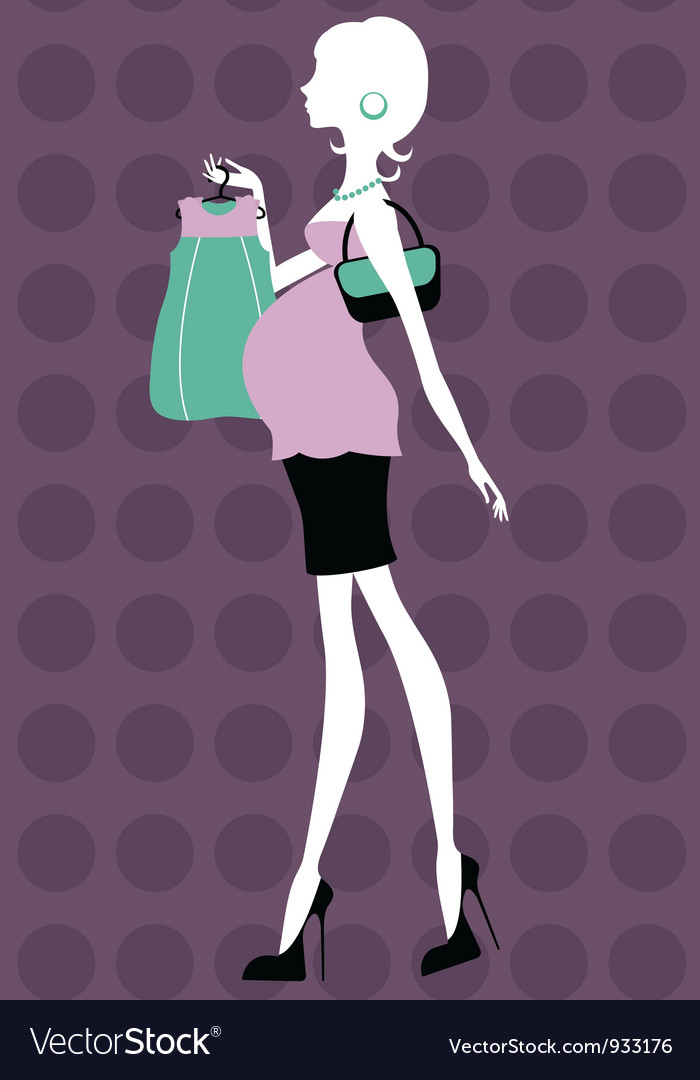 Beautiful pregnant woman shopping vector   Price: 1 Credit (USD $1)