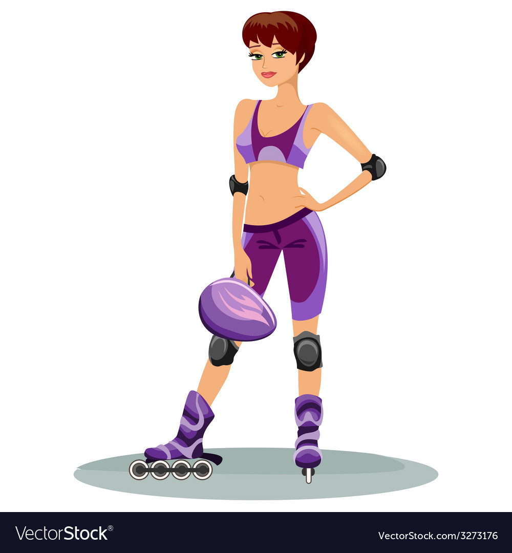 Beautiful young roller skater vector | Price: 1 Credit (USD $1)