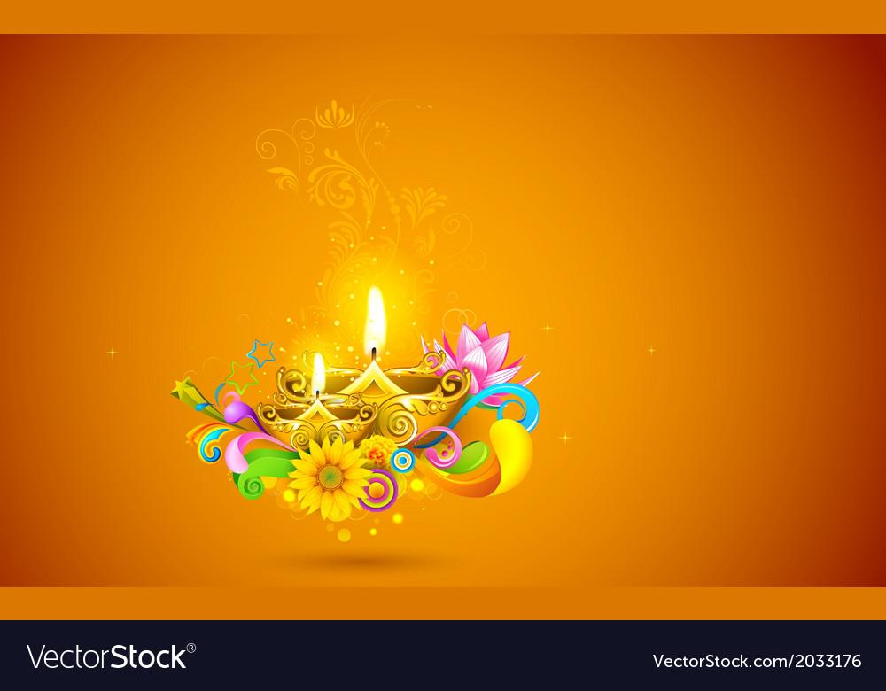 Burning diwali diya vector | Price: 1 Credit (USD $1)