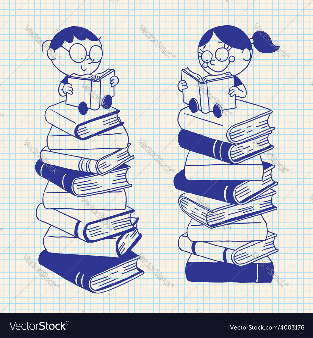Cute kids reading on a big pile of books vector | Price: 1 Credit (USD $1)