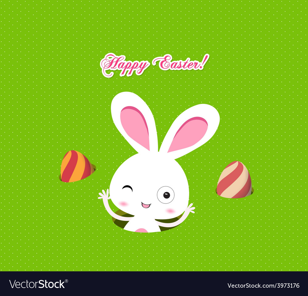 Easter bunny playful with eggs colorful card vector | Price: 1 Credit (USD $1)