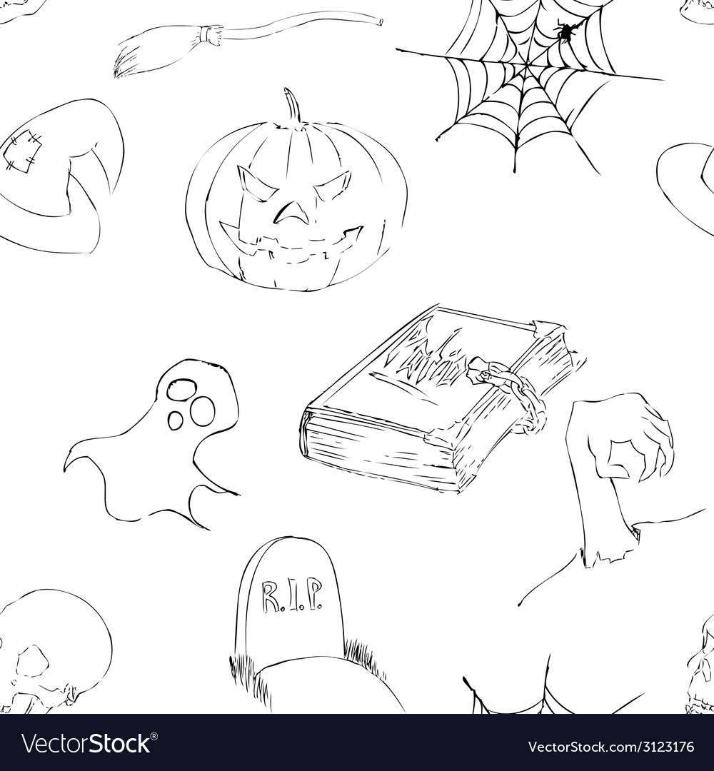 Halloween doodles seamless pattern vector | Price: 1 Credit (USD $1)