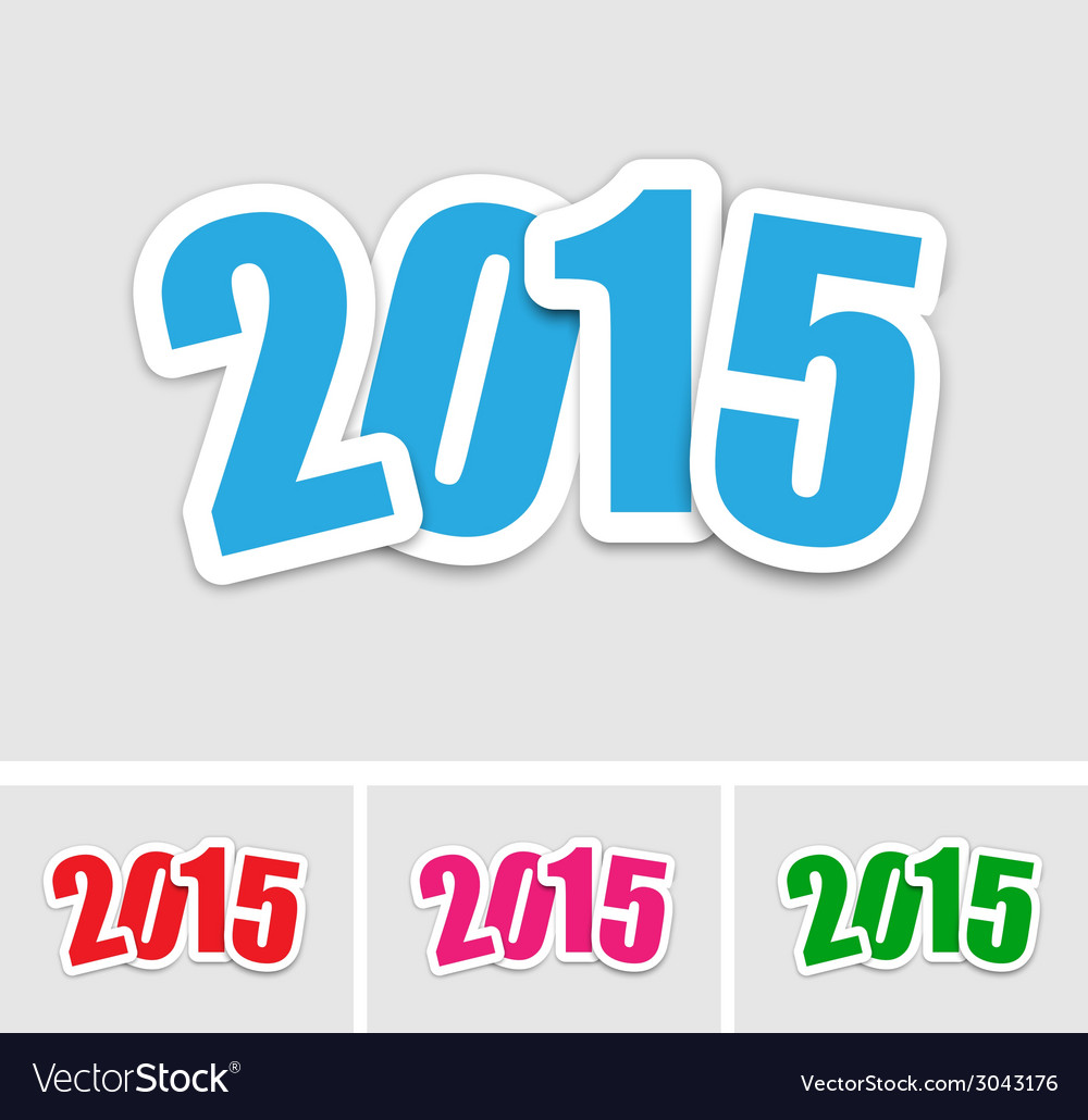 New year 2015 stickers vector | Price: 1 Credit (USD $1)