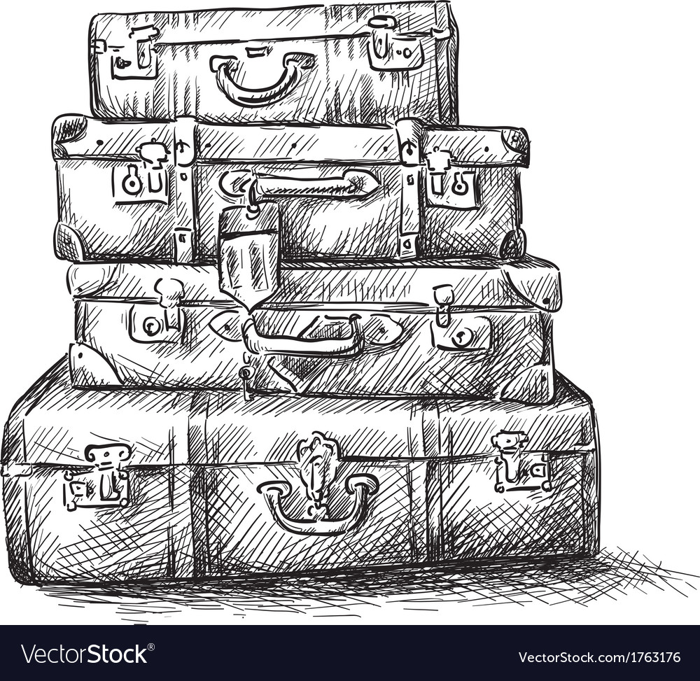 Sketch drawing of luggage bags vector | Price: 1 Credit (USD $1)