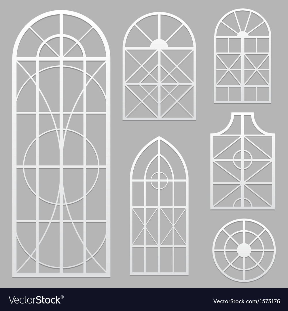 Window set white vector | Price: 1 Credit (USD $1)