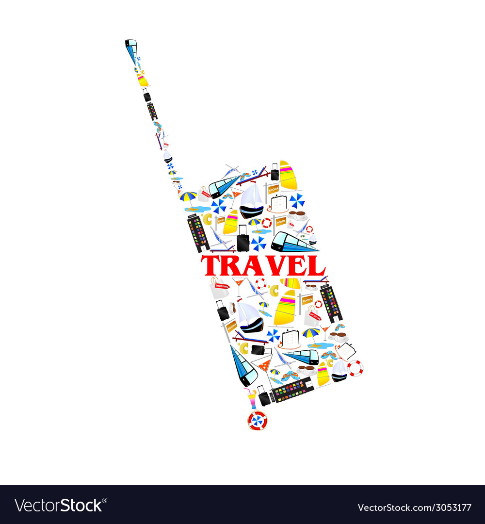 Bag with travel symbol vector | Price: 1 Credit (USD $1)