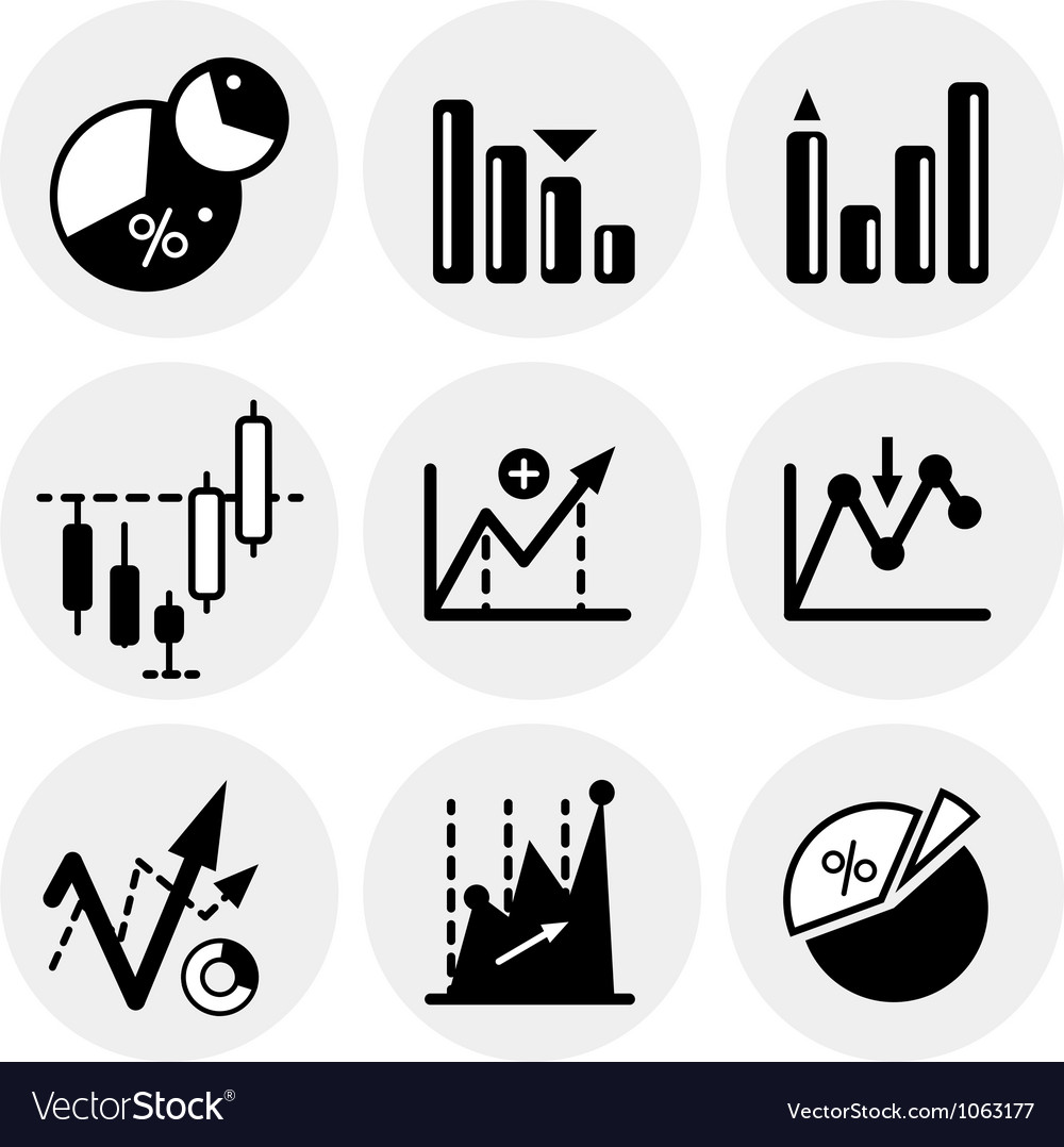 Black statistics icons vector | Price: 1 Credit (USD $1)