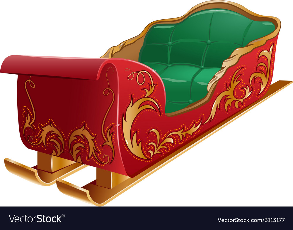 Christmas santas sleigh isolated vector | Price: 1 Credit (USD $1)