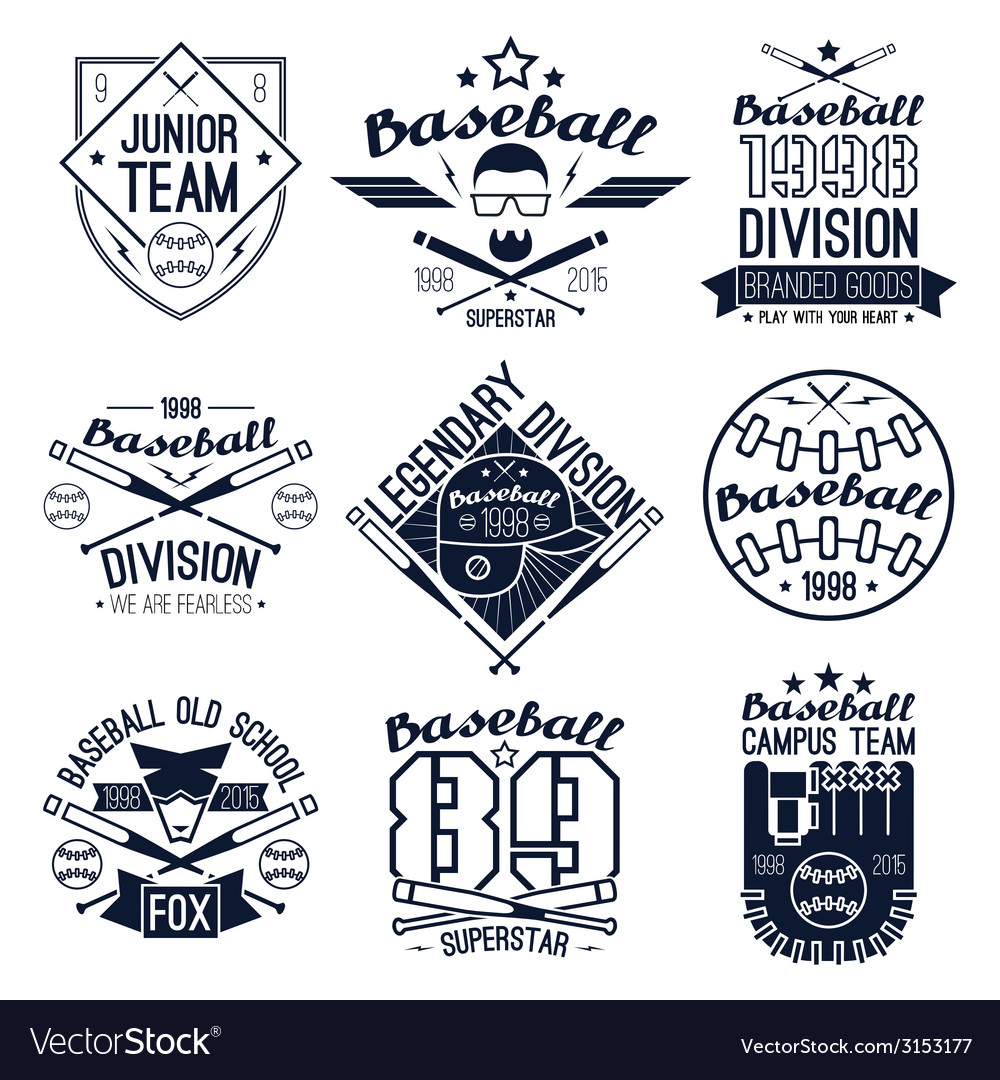 College baseball team emblems vector | Price: 1 Credit (USD $1)
