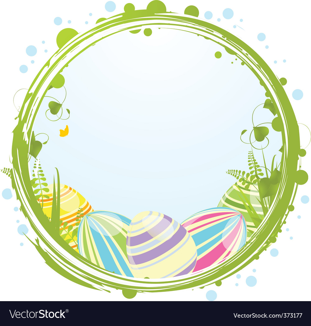 Easter eggs and border vector | Price: 1 Credit (USD $1)