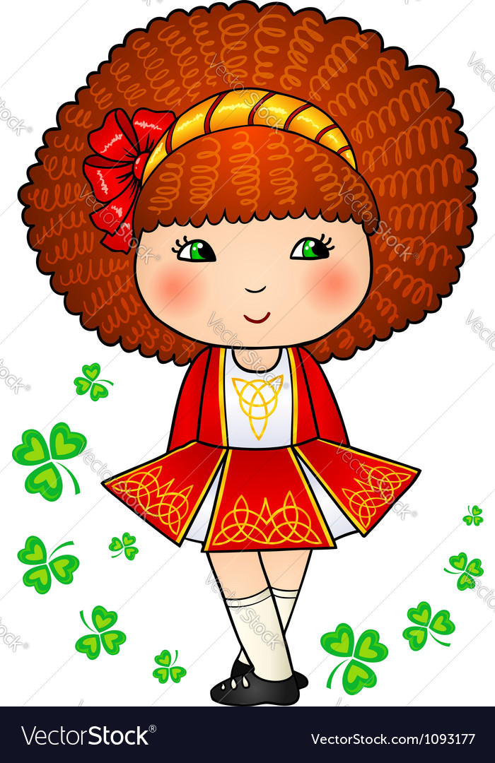 Irish dancing girl in red traditional dress vector | Price: 1 Credit (USD $1)