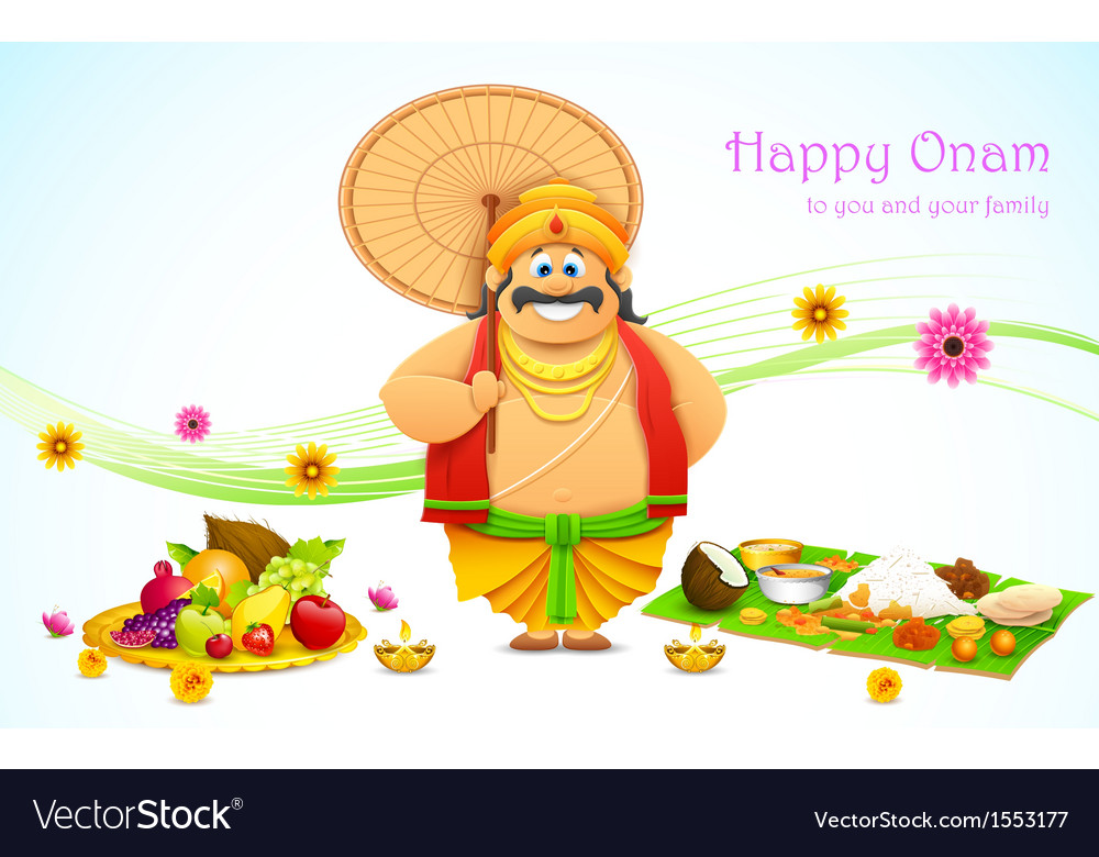 King mahabali in onam background vector | Price: 1 Credit (USD $1)