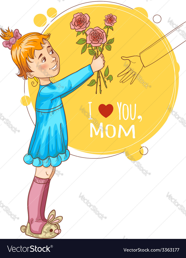 Little girl gives bouquet of tulips at mothers day vector | Price: 1 Credit (USD $1)