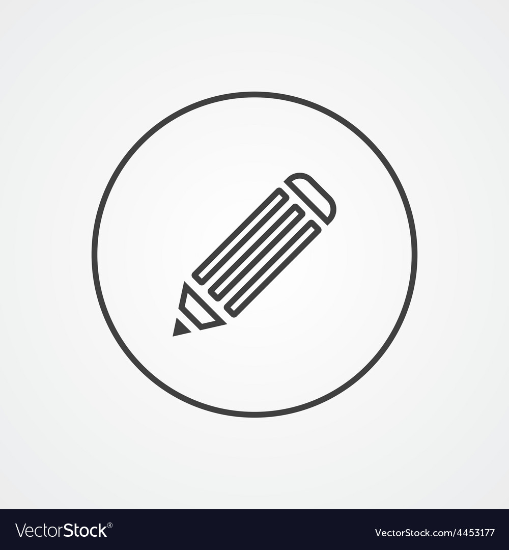 Pencil outline symbol dark on white background vector