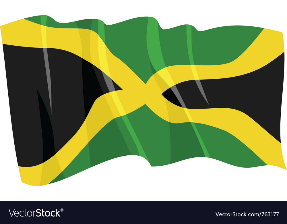 Political waving flag of jamaica vector | Price: 1 Credit (USD $1)