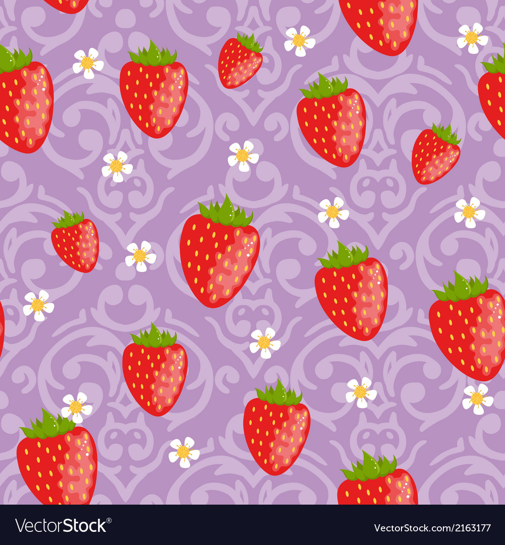 Seamless strawberries background vector | Price: 1 Credit (USD $1)