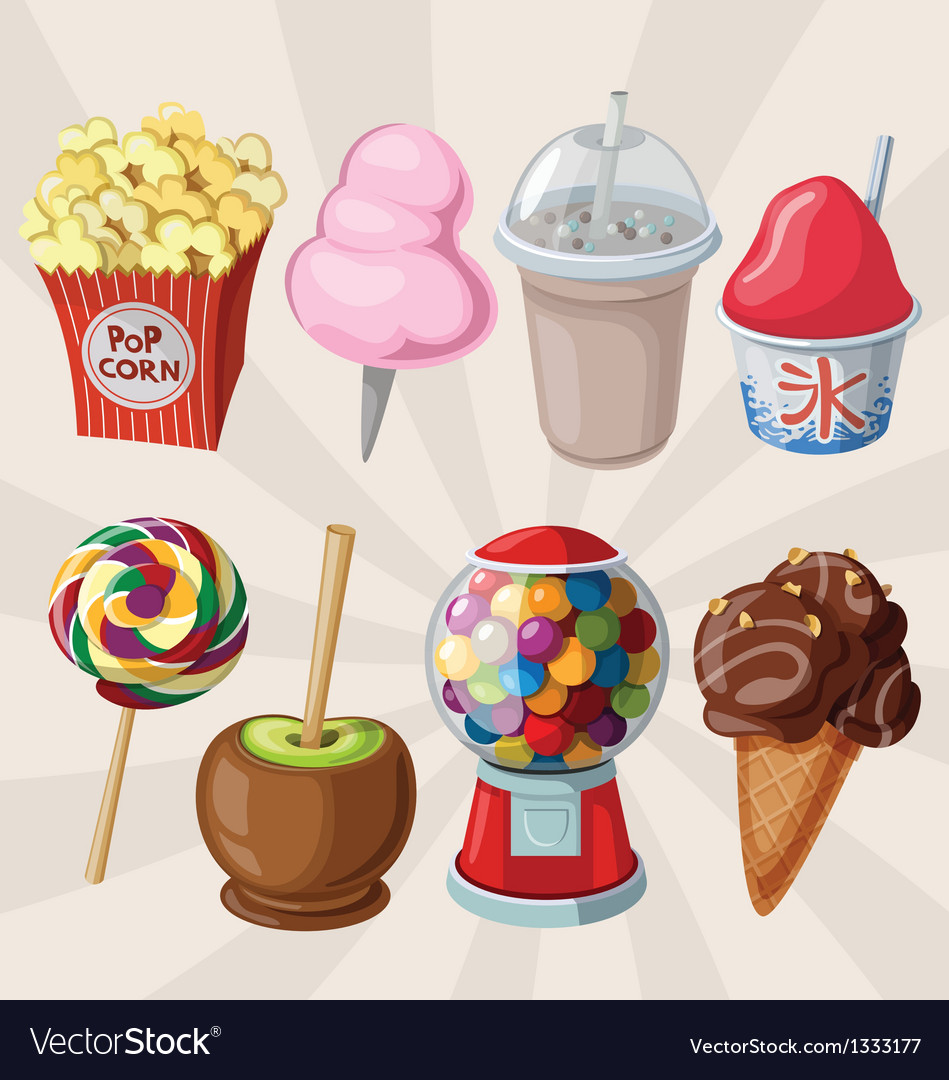 Set of fair sweets and treats vector | Price: 3 Credit (USD $3)
