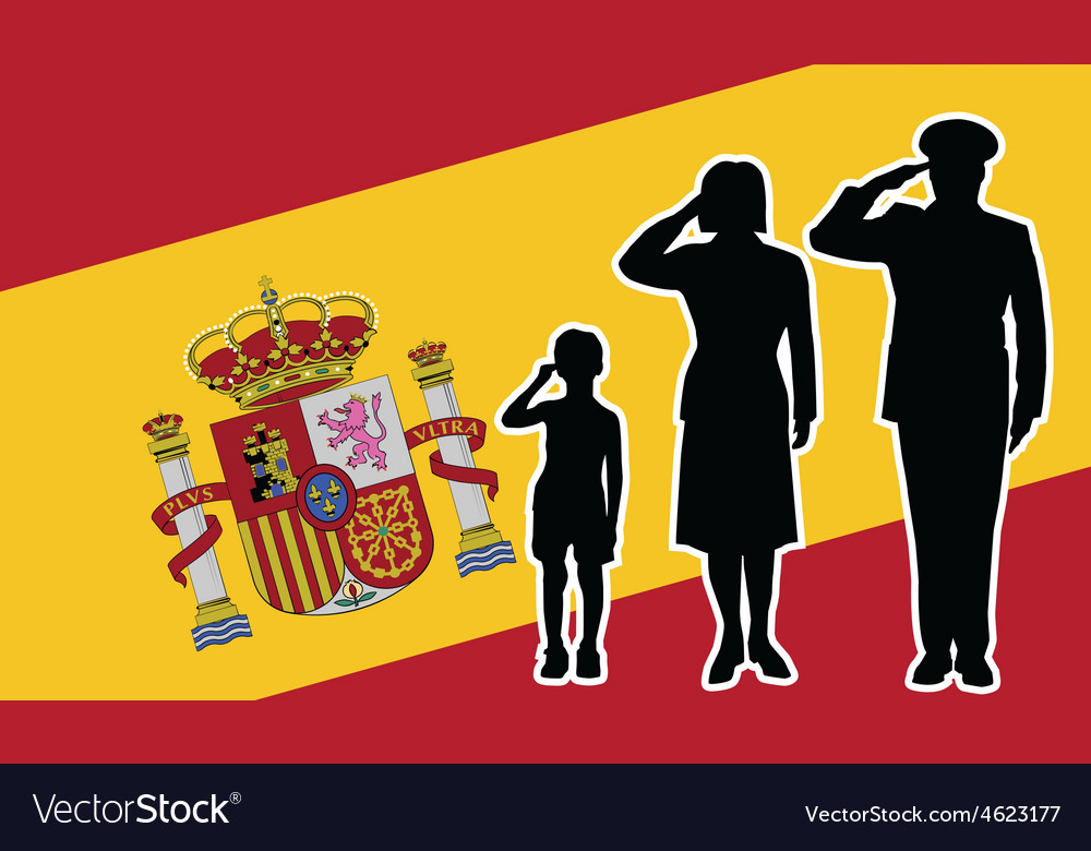 Spain soldier family salute vector | Price: 1 Credit (USD $1)