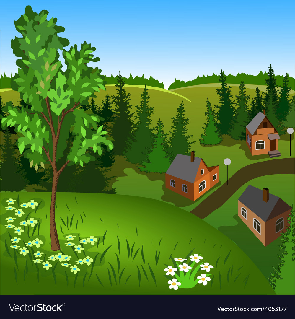 View of landscape of summer town from hill vector | Price: 3 Credit (USD $3)