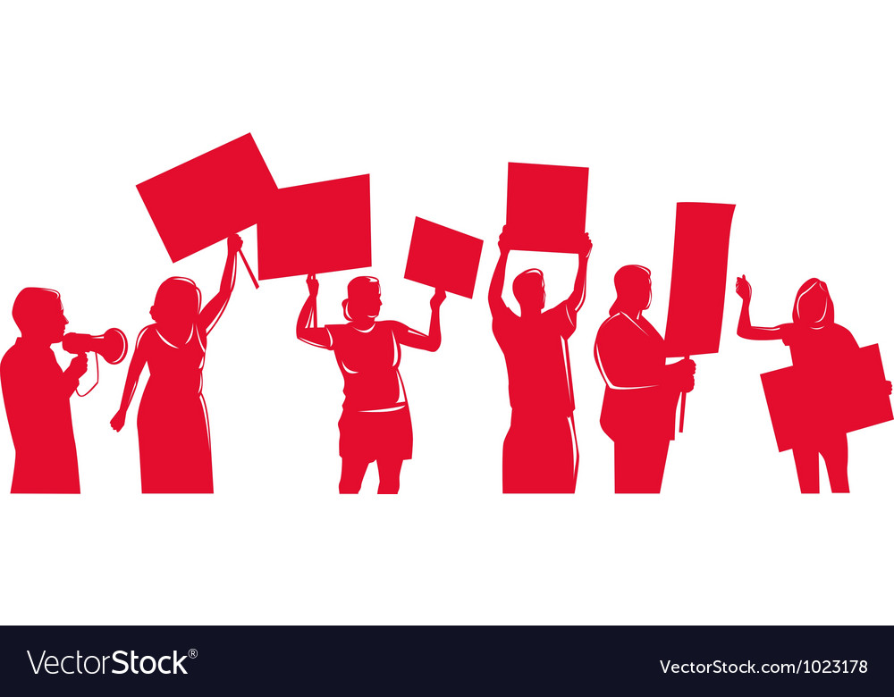 Activists protestors with placard signs protesting vector | Price: 1 Credit (USD $1)