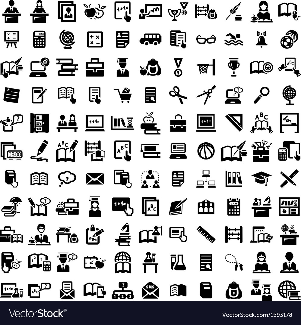 Big education icons set vector | Price: 1 Credit (USD $1)