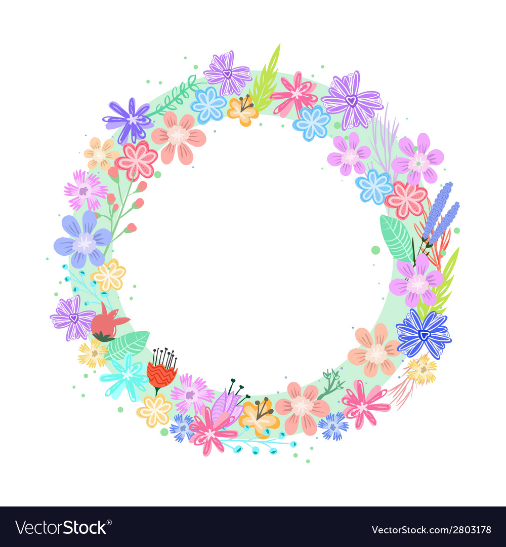 Cute colorful flowers frame vector | Price: 1 Credit (USD $1)