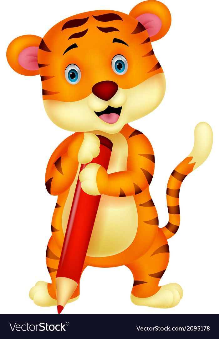 Cute tiger cartoon holding red pencil vector | Price: 1 Credit (USD $1)