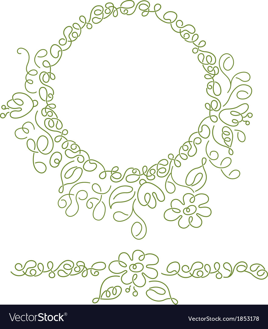 Decorative round element with lines and flowers vector | Price: 1 Credit (USD $1)