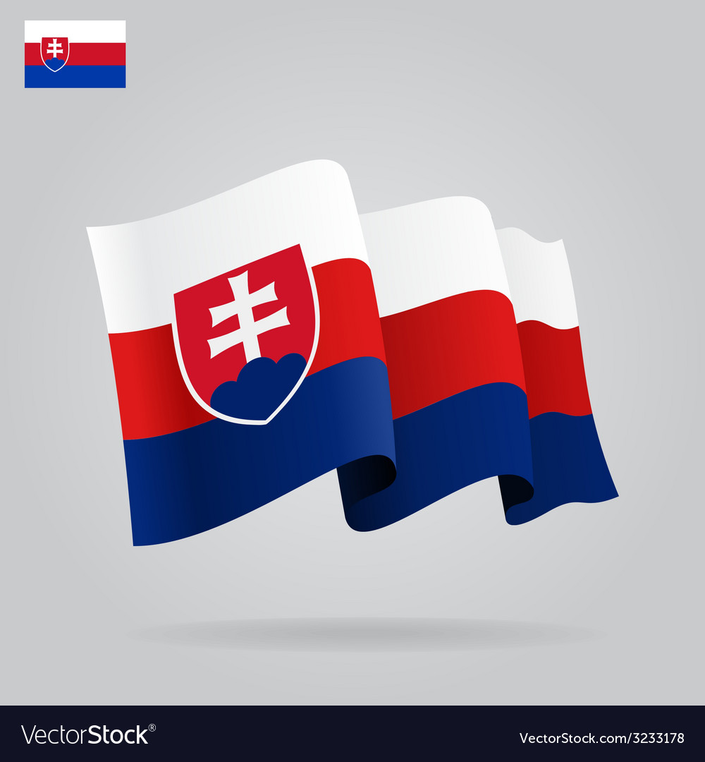 Flat and waving slovak flag vector | Price: 1 Credit (USD $1)