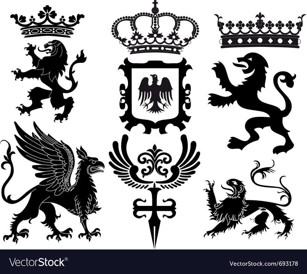 Heraldry design elements vector | Price: 1 Credit (USD $1)