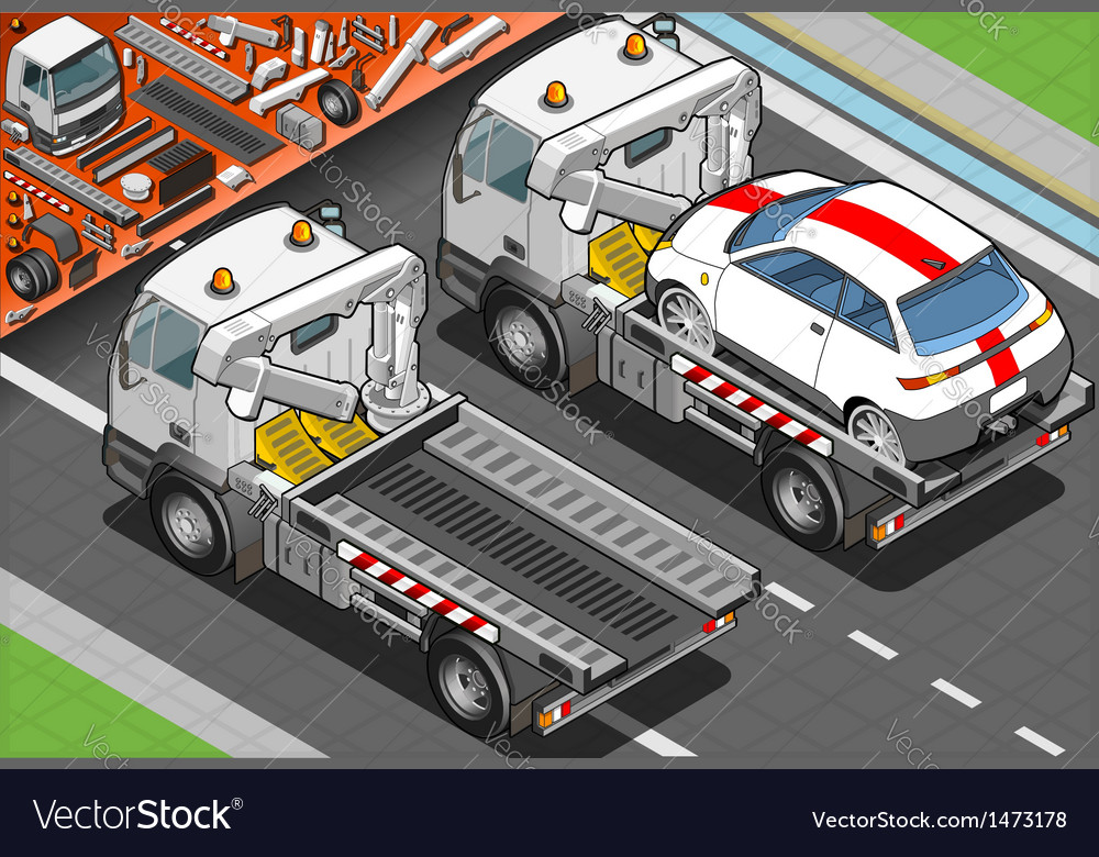 Isometric tow truck in car assistance in rear view vector | Price: 1 Credit (USD $1)