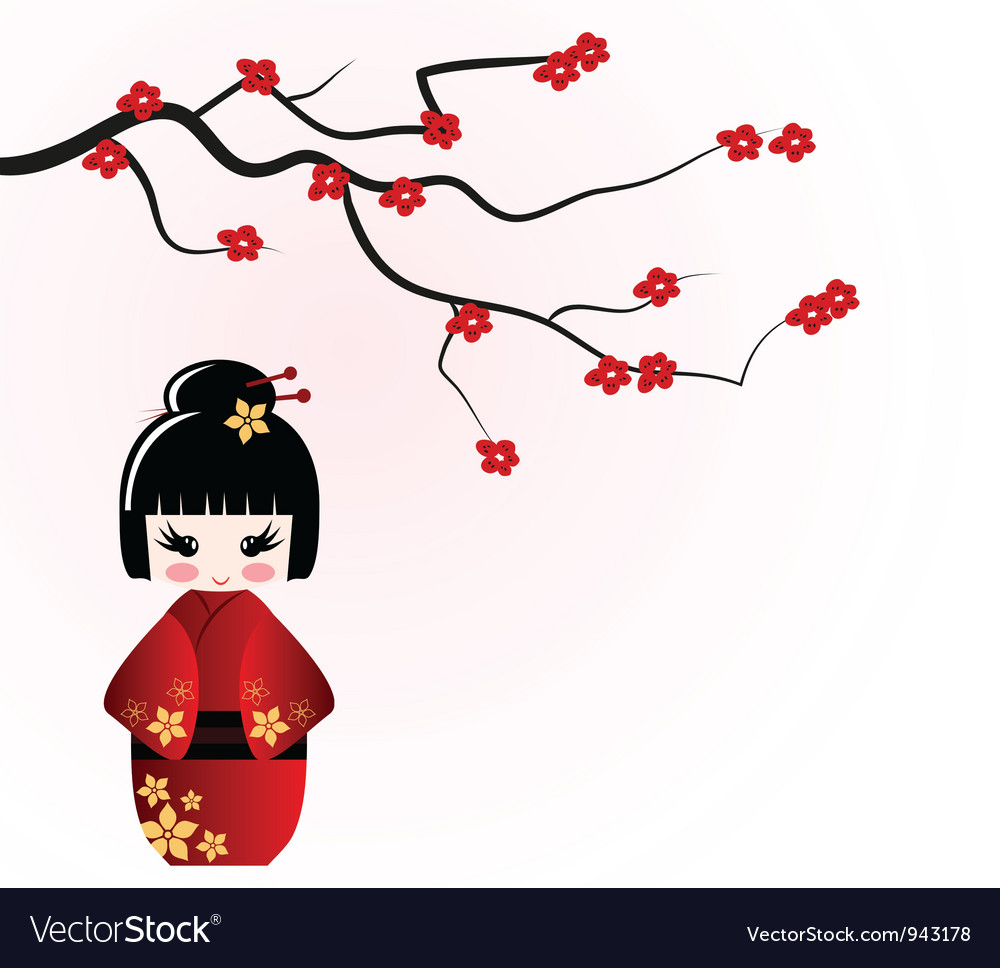 Kokeshi doll under sakura branch vector | Price: 1 Credit (USD $1)