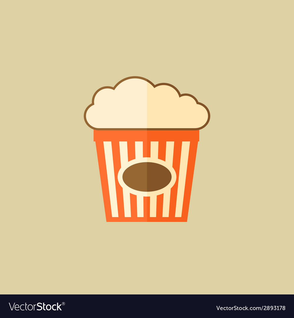 Popcorn food flat icon vector