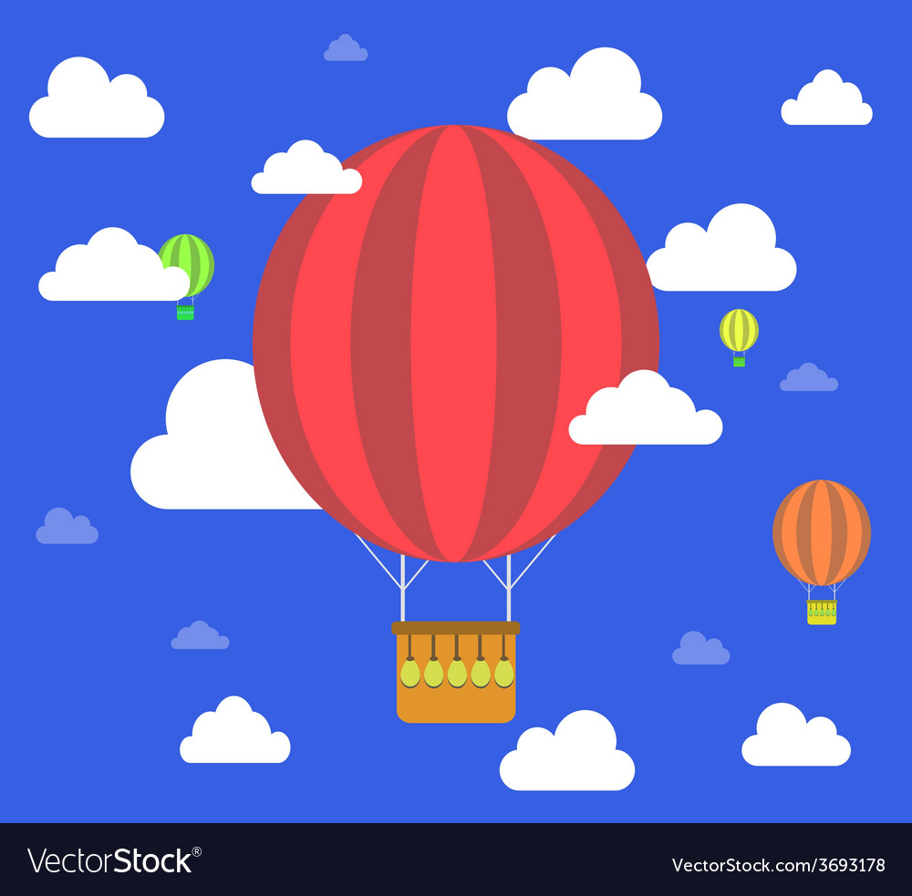 Retro hot air balloon fly sky background vector | Price: 1 Credit (USD $1)