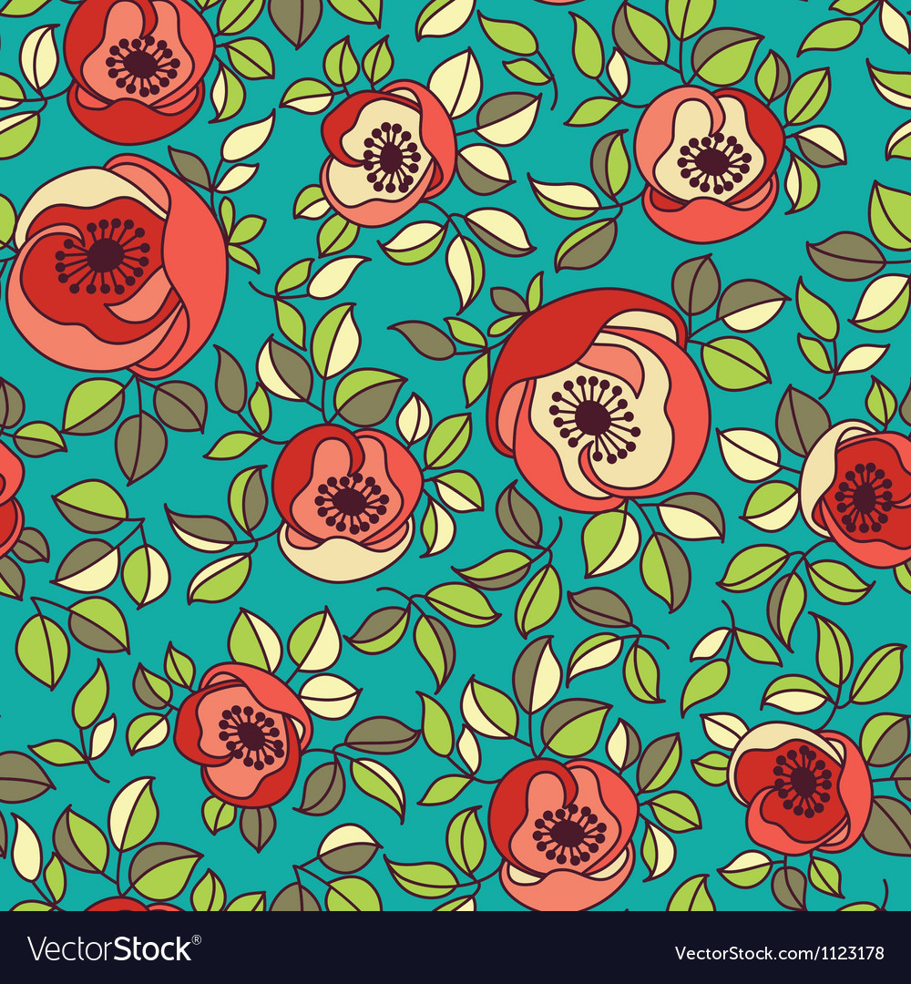 Seamless vintage rose pattern on green background vector | Price: 1 Credit (USD $1)