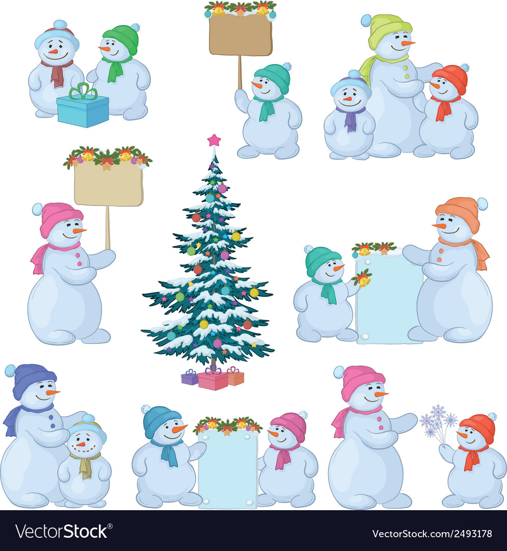 Set snowman and christmas tree vector | Price: 1 Credit (USD $1)
