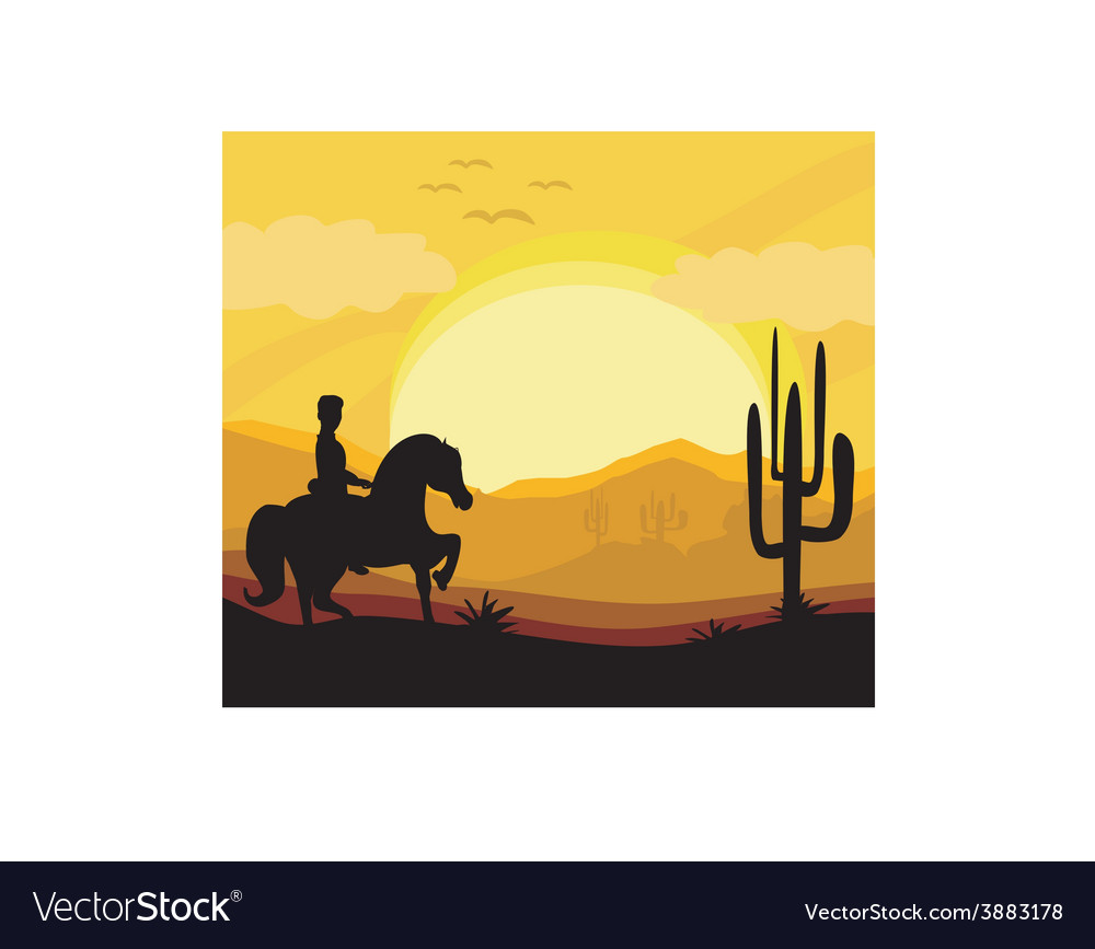 Silhouette of a man ride a horse during sunset vector | Price: 1 Credit (USD $1)
