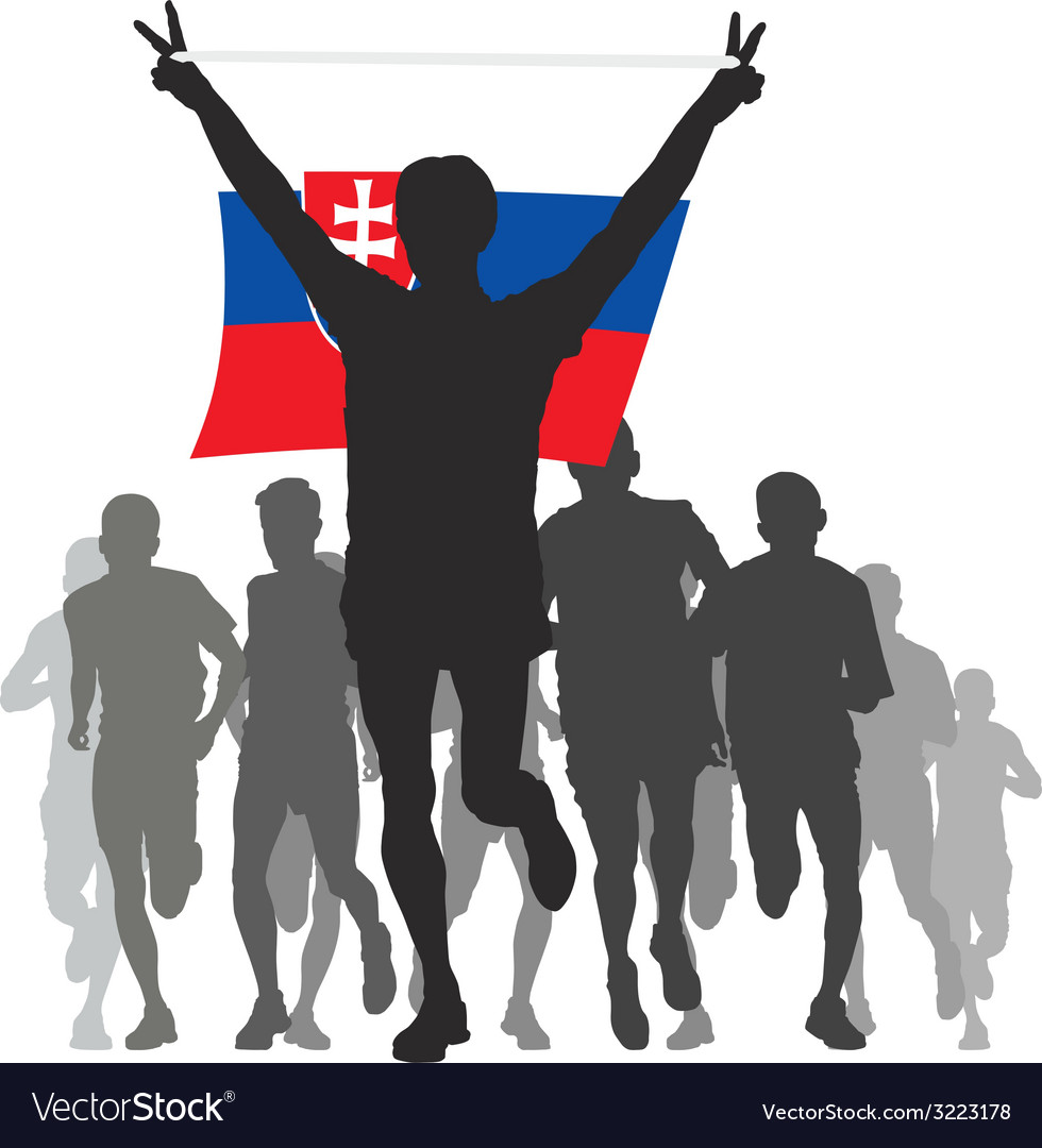 Winner with the slovakia flag at the finish vector | Price: 1 Credit (USD $1)
