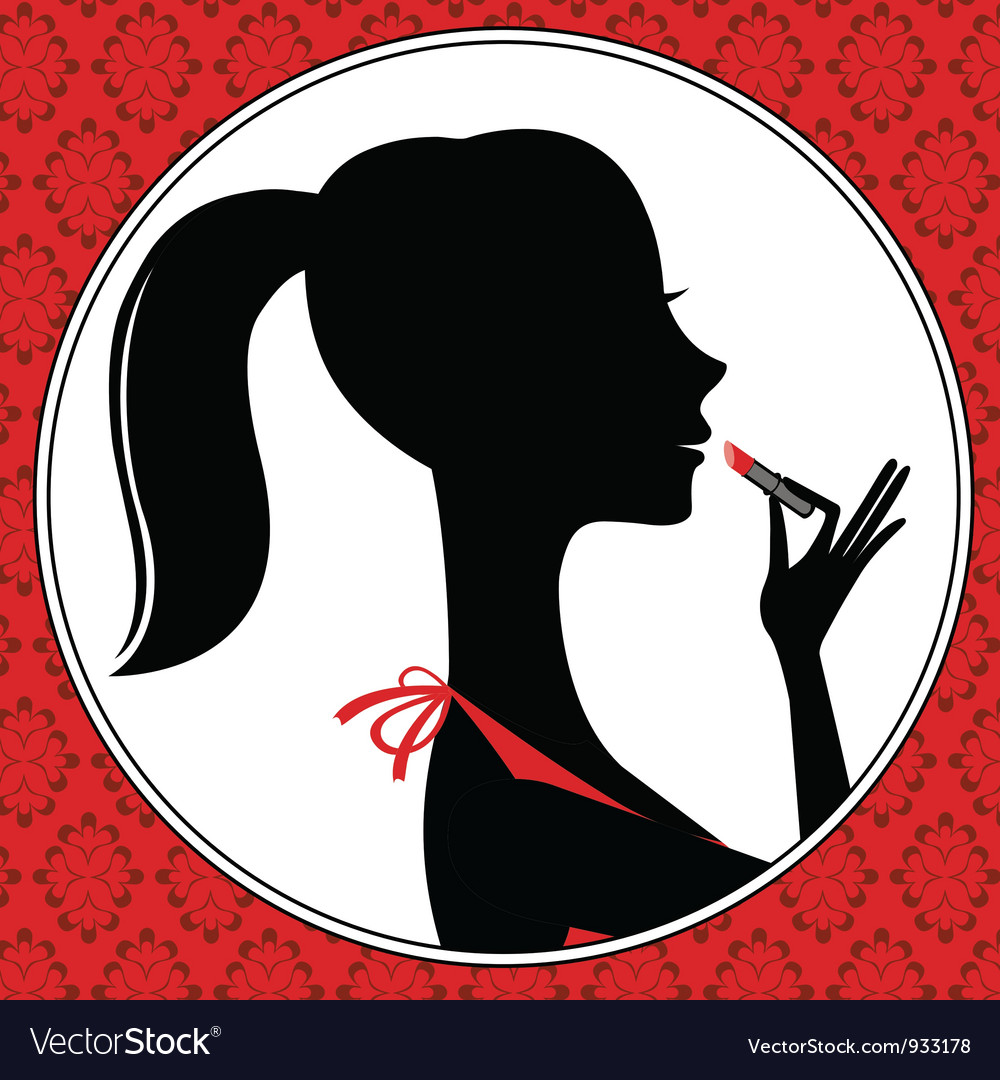 Young woman with lipstick vector | Price: 1 Credit (USD $1)