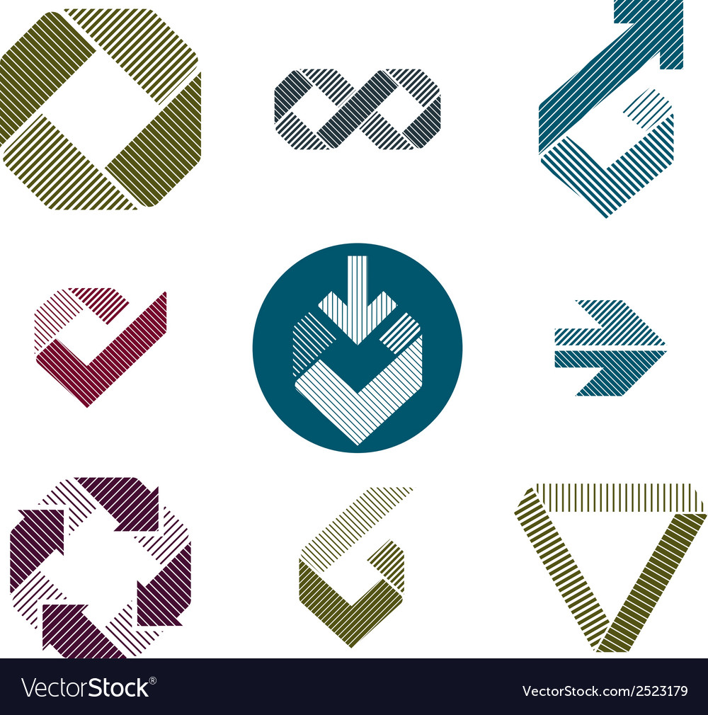 Abstract unusual lined icons set creative symbols vector | Price: 1 Credit (USD $1)