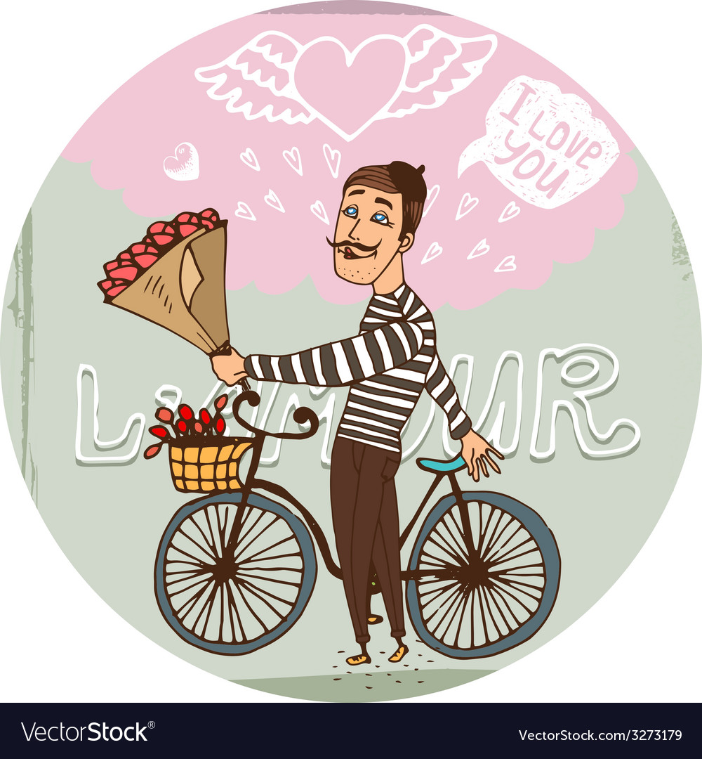 Amorous frenchman on a bicycle with red roses vector | Price: 1 Credit (USD $1)