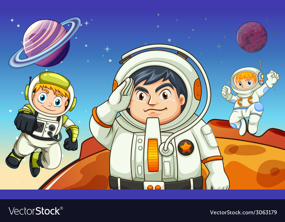 Astronauts in the outerspace vector | Price: 1 Credit (USD $1)