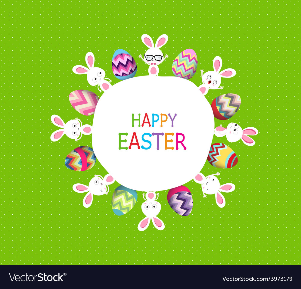 Colorful easter eggs and bunny around the globe vector | Price: 1 Credit (USD $1)